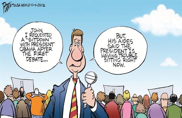 Obamas Trouble © Bruce Plante,Tulsa World,trouble,debate,obama-reelection,romney-obama-debate