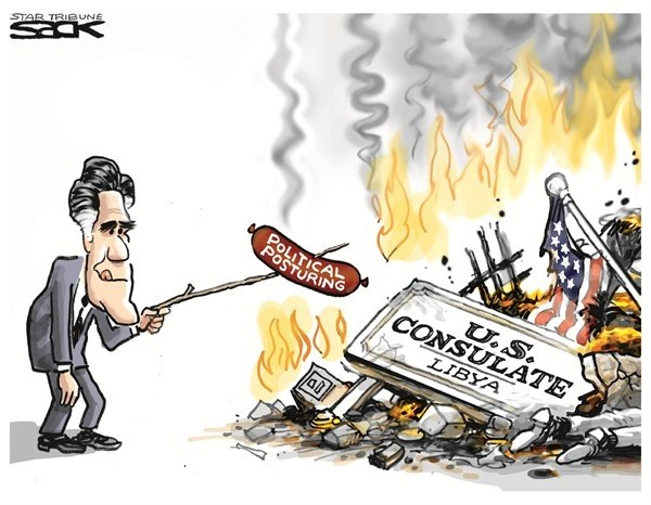 Political Posturing © Steve Sack,The Minneapolis Star Tribune,romney,posturing,consulate,us,terror,embassy,death