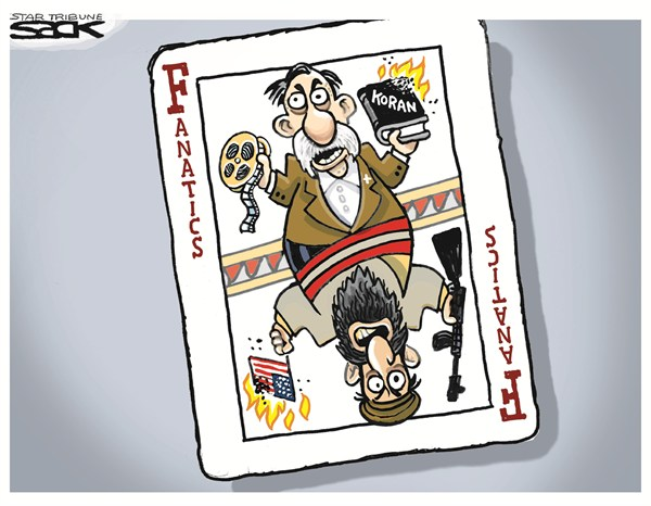 Fanatics © Steve Sack,The Minneapolis Star Tribune,libya,attacks,fanatics,koran,film