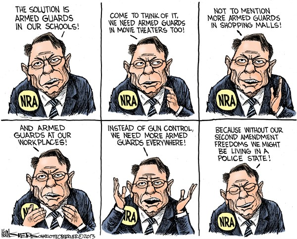 Armed Guards and the NRA © Kevin Siers,The Charlotte Observer,armed,guards,theaters,schools,kids,guns,control,nra, NRA 2012, school violence, second amendment, teachers and guns