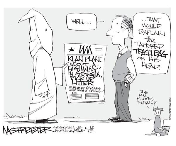 Hoodwinked © Mark Streeter,The Savannah Morning News,klan,plan,burning,cross,adopt,highway