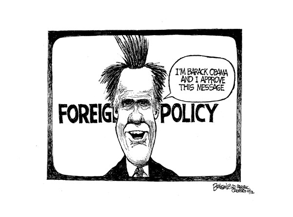 Foreign Policy © Steve Benson,Arizona Republic,foreign policy,debate,romney,message,obama,foreign-policy-debate