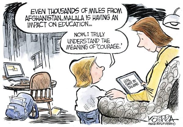 Malalas Courage © Jeff Koterba,Omaha World Herald, NE,malala,courage,taliban,shooting,education,women,teenager,school