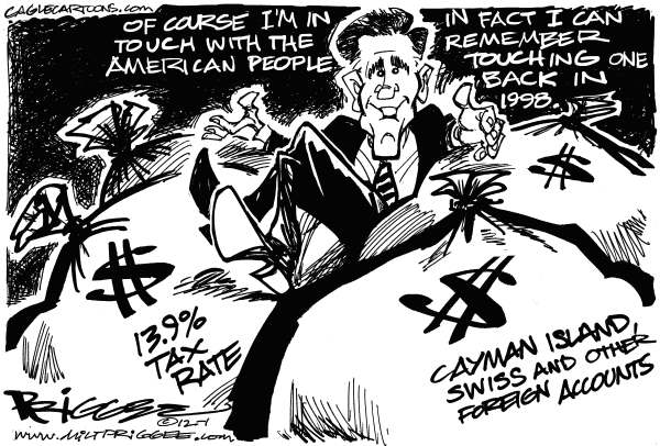 The Romney Touch © Milt Priggee,www.miltpriggee.com,Mitt Romney, wealth, america, president, 2012, gop, conservative, republican, foreign bank accounts, cayman islands, swiss, tax rate,