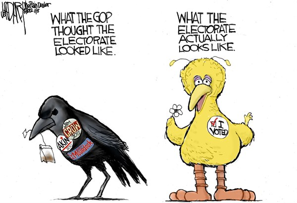 Electorate Picture © Jeff Darcy,The Cleveland Plain Dealer,big bird,electorate,gop,mourdock,crow,akin,voted,voters