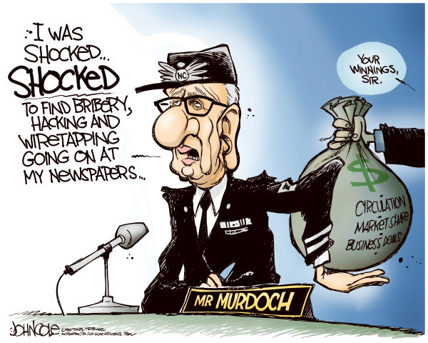Murdochs winnings © John Cole,The Scranton Times-Tribune,news corp, rupert murdoch, note, wiretapping, bribery, hacking, newspapers, britain