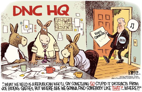 Akin's Gift to the DNC © Rick McKee,The Augusta Chronicle,Akin,legitimate,rape,pregnant,Joe Biden,gaffes,DNC,Democratic National Committee
