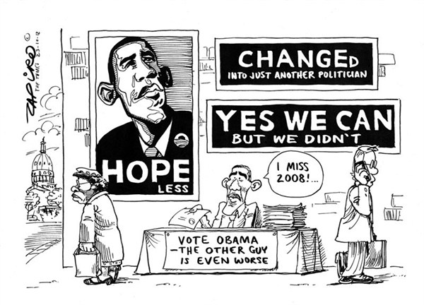 Vote Obama © Zapiro,obama reelection,change,hope,vote