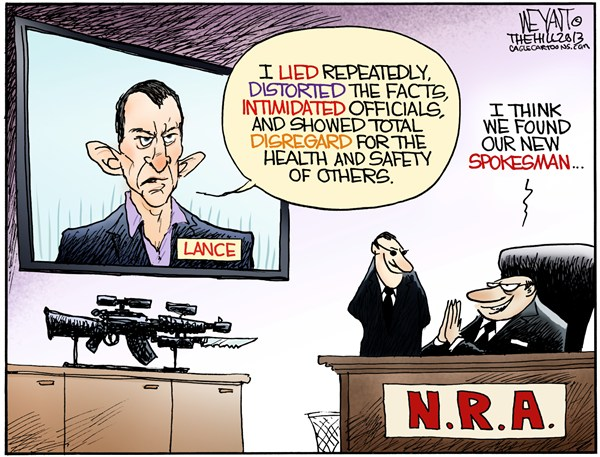 NRArmstrong © Christopher Weyant,The Hill,National Rifle Association,NRA,Lance Armstrong,gun control,Obama,Congress,evil,assault weapons,Newtown,CT,massacre,doping,scandal,armstrong admission, gun debate 2012, lance armstrong doping, lance armstrong out, nra, NRA 2012, second amendment