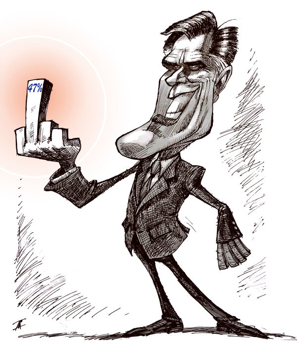 Romney's message to the 47 percent © Nik Kowsar,PoliticalCartoons.com,Romney,Mitt,Election 2012,47,secret fundraiser event