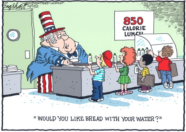 850 Calorie School Lunch © Bob Englehart,The Hartford Courant,school,food,calories,lunch,bread,water,students