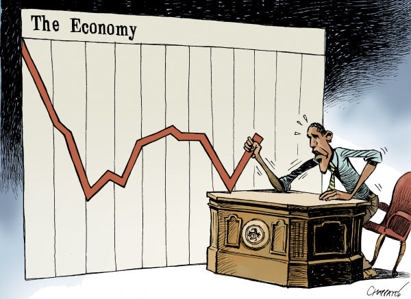 Obama and the Economy © Patrick Chappatte,Le Temps, Switzerland,USA, Obama, Unemployment, Economy, Crisis, Presidential Election 2012