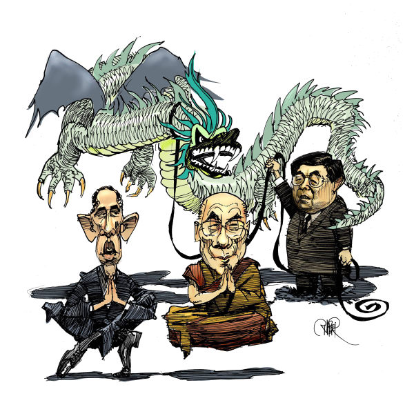 If China was indeed so much in command over its provinces, why do they have such a large 'internal security' budget. |  Cartoonist - Riber Hansson, Sweden  -  2/18/2010 12:00:00 AM; source and courtesy - caglecartoons.com  |  Click for larger source image.
