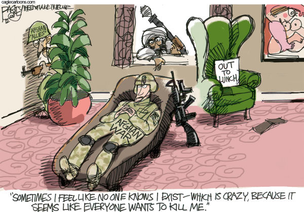 Crazy Afghan War © Pat Bagley,Salt Lake Tribune,Troops,Afghanistan,Afghan,Police,Army,Fragging,Frag,US Troops,Taliban,Allies,Afghan Army,Psychiatrist,War