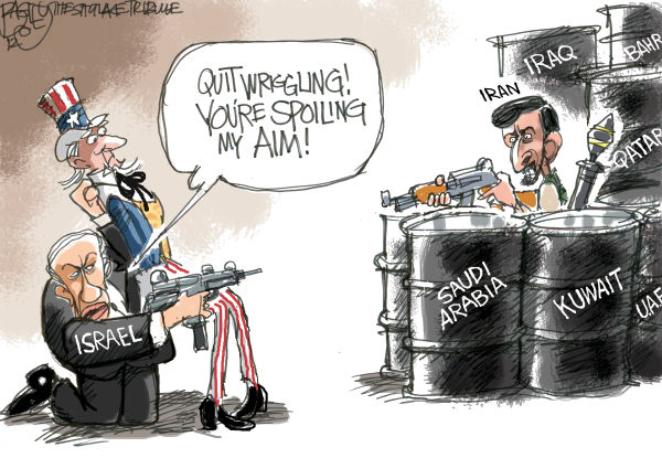 Plan to Attack Iran © Pat Bagley,Salt Lake Tribune,Iran, Israel, Uncle Sam, United States, Strike, Nuclear, Atomic, Weapons, WMD, Netanyahu, Bibi, Ahmadinejad, Khameini, Attack