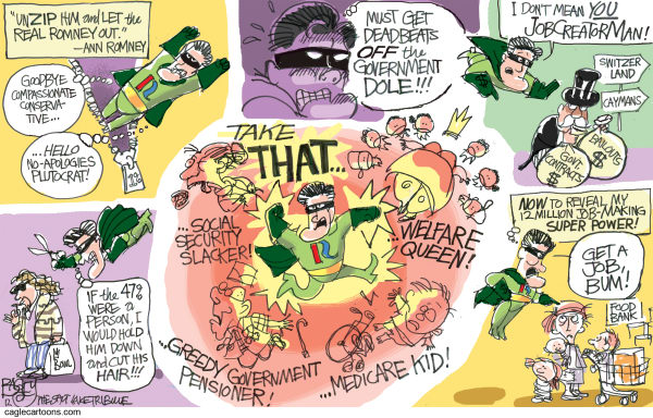 Mitt Unzipped © Pat Bagley,Salt Lake Tribune,Mitt Romney, Mitt, Romney, Plutocrat, 47 percent, 47, Deadbeats, Moochers, Social Security, Government, Dependency, Welfare, Food Stamps, Poor, Middle Class, Entitlements, Rand