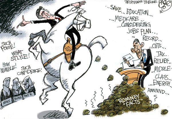 Mitt Gets His Stuff Together © Pat Bagley,Salt Lake Tribune,Mitt,Romney,Debate,Obama,Barack,Lehrer,Debates,Colorado,Denver,After the Debate