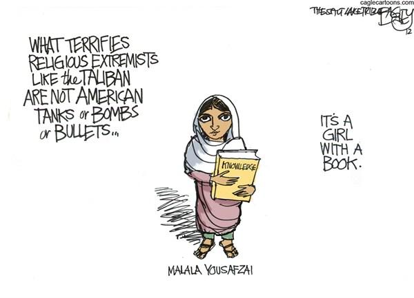 Malala Yousafzai © Pat Bagley,Salt Lake Tribune,Malala,Yousafzai,Taliban,Pakistan,education,knowledge,Women,malala yousafzai