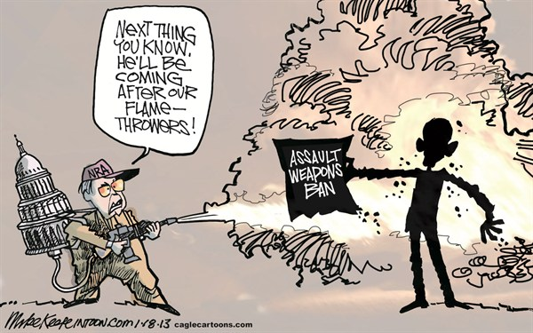 Assault Weapons Ban © Mike Keefe,Cagle Cartoons,assault; weapon; ban; nra; obama; newtown; guns; ammunition; clip; high-capactiy; magazine; aurora; shooting; school; theater,Assault Weapons, gun debate 2012, Living With Guns, nra, NRA 2012, obama guns, second amendment