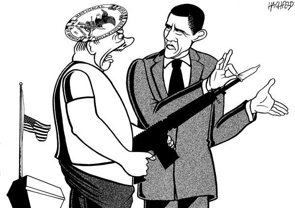 Obama's countermeasures © Rainer Hachfeld,Neues Deutschland, Germany,Barack Obama,NRA member with gun,obama guns