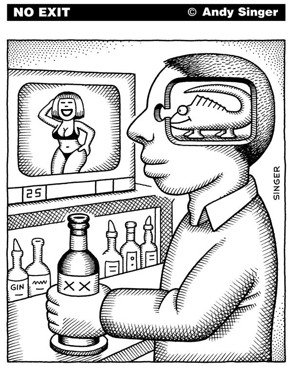 The system needs unmarried men, rampant prostitution, pornography to keep it going  |  Cartoon By Andy Singer; titled: Appealing to a Mans Reptilian Brain from Politicalcartoons.com  published on 5/3/2006 12:00:00 AM  |  Click for larger image.