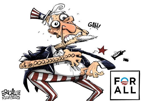 For All © Eric Allie,Caglecartoons.com,for all, obama, campaign, creepy, debt, weird obama cult, hope, celebs, pledge