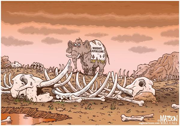 Moderate Republican Graveyard © RJ Matson,Roll Call,Moderate Republican Graveyard, Republican Party, Moderates, 2012 Elections, Elephant, Bones