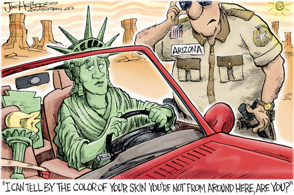 Truth of prejudice is stranger than fiction of freedom. (Cartoon By Joe Heller, Published by Green Bay Press-Gazette  -  4/26/2010 12:00:00 AM; courtesy - caglecartoons.com). Click for larger image.