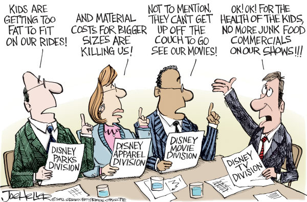 Disney Junk Food Ban © Joe Heller,Green Bay Press-Gazette,Disney Junk Food Ban, Dinseyland, DisneyWorld, TV, Childrens health, diet, bad food, corporations, television commercials, ads, advertising