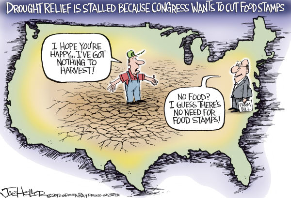 Drought Relief © Joe Heller,Green Bay Press-Gazette,Drought Relief, farm bill, food stamps