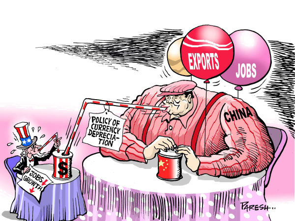 USA allowed Europe, Japan, Asian Tigers - and now China to use currency depreciation tool to export and grow their economies.  |  Cartoonist - Paresh Nath, from The Khaleej Times, UAE  on 3/26/2010 12:00:00 AM; source & courtesy -  caglecartoons.com  |  Click for larger source image.