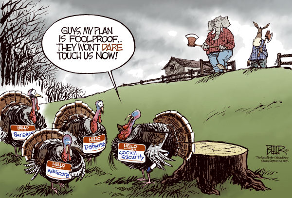 Nate Beeler - The Washington Examiner - Avoiding the Cut COLOR - English - thanksgiving, holiday, turkey, republican, democrat, elephant, donkey, social security, defense, medicare, pensions, ax, cut, debt, deficit, spending, politics