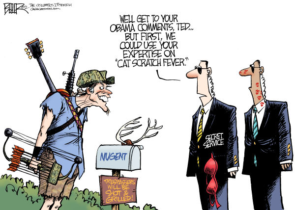 Secret Service and Nugent © Nate Beeler,The Columbus Dispatch,ted nugent, barack obama, secret service, colombia, prostitution, prostitute, sex, scandal, cat scratch fever