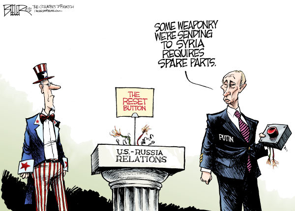 Russia and Syria © Nate Beeler,The Columbus Dispatch,russia, putin, syria, assad, reset, button, america, united states, international, diplomacy, war, middle east, world, relations