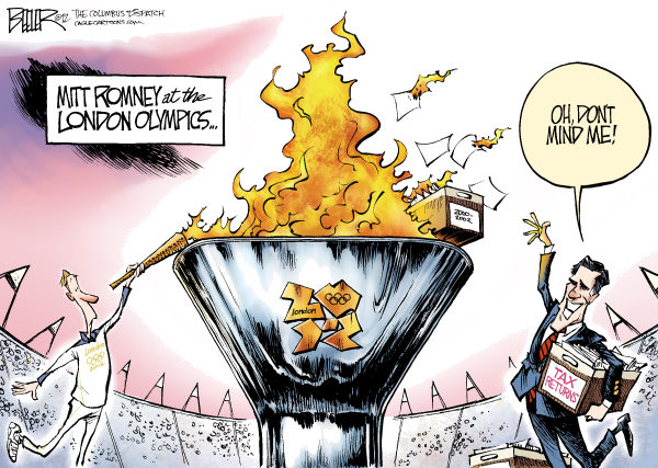 Mitt at the Olympics © Nate Beeler,The Columbus Dispatch,mitt romney,olympics,london,sports,campaign,2012,election,taxes,tax,returns,torch,flame,politics