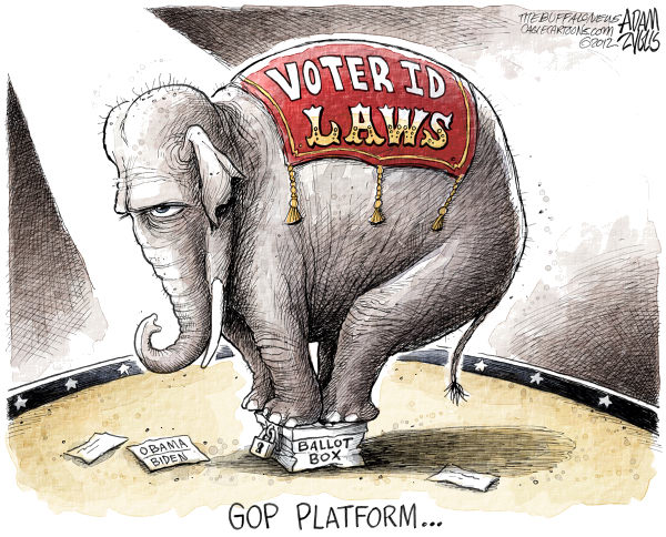 Voter ID Laws © Adam Zyglis,The Buffalo News,gop, platform, voter id laws, vote, voting rights, pennsylvania, ohio, state, ballot box, fraud, election, corruption, presidential, race, 2012