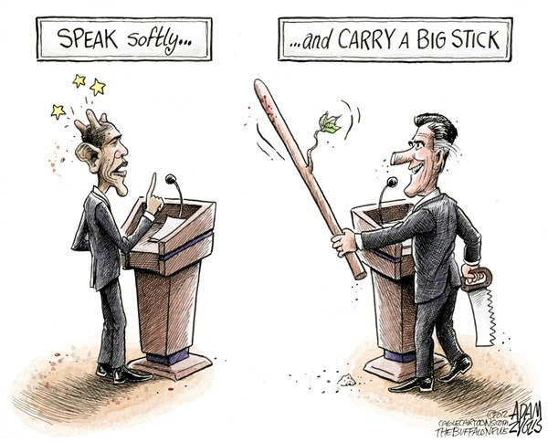 Romney Beats Obama © Adam Zyglis,The Buffalo News,romney,obama,presidential,debate,winner,barack,mitt,election,race,lies,misinformation,speak softly,big stick,pinocchio,medicare,After the Debate