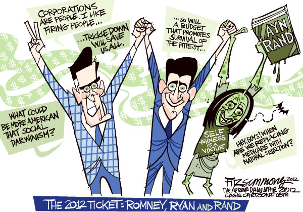 Romney Ryan and Rand © David Fitzsimmons,The Arizona Star,Romney, Ryan, rand, Republicans, Election 2012