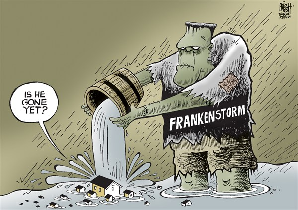 FRANKENSTORM © Randy Bish,Pittsburgh Tribune-Review,FRANKENSTORM, HURRICANE, HURRICANE SANDY, SANDY, STORM, DAMAGE, FLOODING, COAST