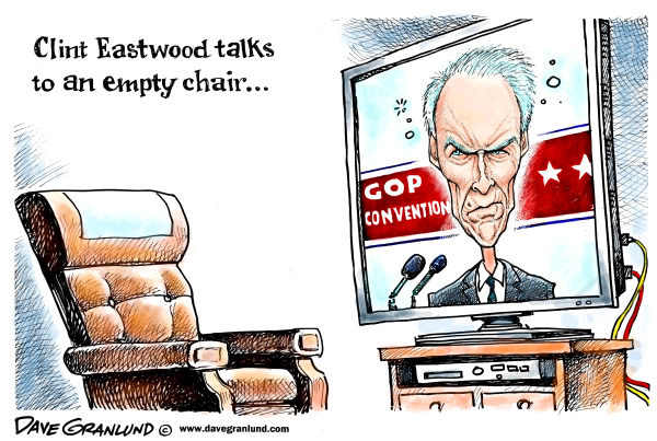 Eastwood& GOP convention © Dave Granlund,Politicalcartoons.com,		 empty chair,speech,Clint Eastwood,GOP convention,Tampa convention,talks to empty chair,hollywood,dirty harry,good bad ugly,fist full of dollars,make my day,do you feel lucky,republicans,2012,Romney,voters,viewers