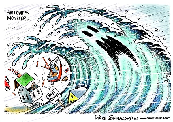 East coast monster storm © Dave Granlund,Politicalcartoons.com,Hurricane,Sandy,October storm,Halloween storm,perfect storm,damage,2012,wind,flooding,coastal flooding,surge,east coast, frankenstorm
