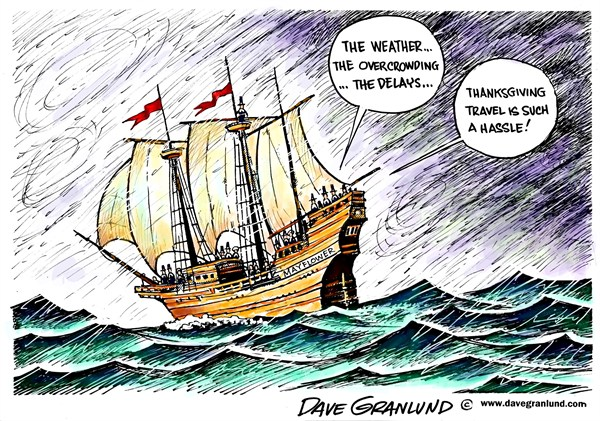 Thanksgiving Travel woes © Dave Granlund,Politicalcartoons.com,Thanksgiving,dinner,feast,gathering,Pilgrims,Mayflower,passengers,<br /><br /><br />Plymouth,travel,voyage,vacation,turkey,delays,overcrowding,travel delays,trip,airfare,tickets,thanksgiving 2012