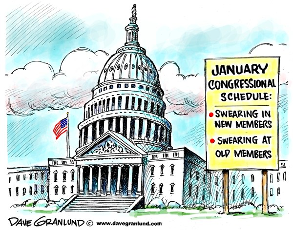 Congress swearing in © Dave Granlund,Politicalcartoons.com,Congress, Senate, House, congress members, congressmen, women, congresswoman, lawmakers, senators, house members, sworn in, oath, swearing at