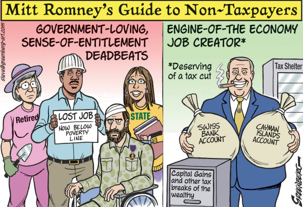 Romney Guide to Non Taxpayers © Steve Greenberg,VCReporter, Ventura. CA,Mitt Romney,taxes,taxpayers,deadbeats,entitlements,tax shelters,tax cuts,government,47 percent