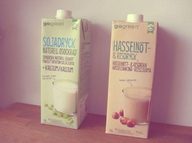 go green sojamjölk och hasselnöt- och risdryck