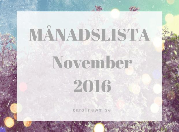 Månadslista November 2016