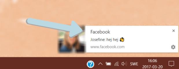knep på facebook, slå på aviseringar i Chrome