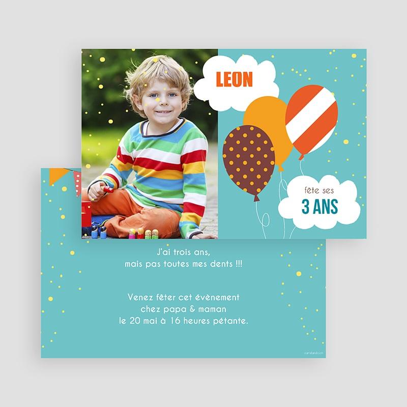 carte invitation anniversaire garcon 3 ans