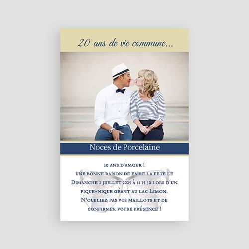carte invitation anniversaire mariage noces de porcelaine 20 ans