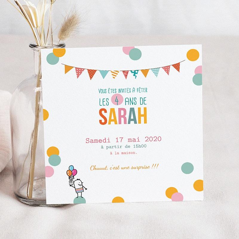carte invitation anniversaire fille 4 ans paillettes